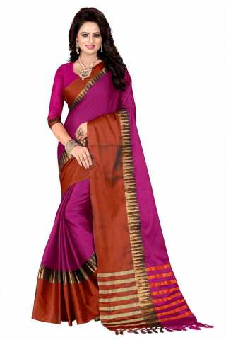 Refreshing Pink Color Cotton Silk Red Border Saree - NCSPNKKRD