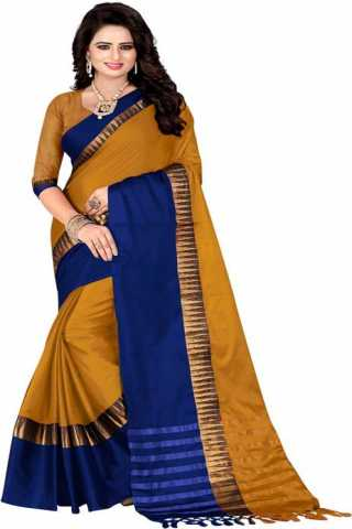 Admirable Yellow Color Cotton Silk Blue Border Saree - NCSYlWBLU