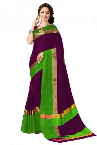 Beautiful Multi Color Poly cotton Fabric Striped Pattern Saree_SB_PC13