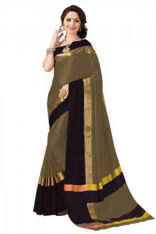 Dashing  Multi Color Poly cotton Fabric Striped Pattern Saree_SB_PC19