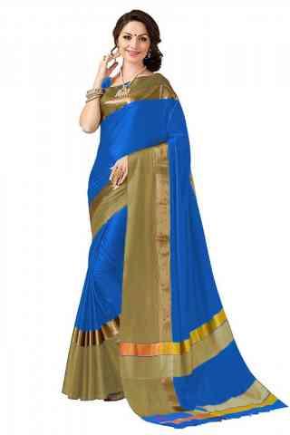 Delightful Multi Color Poly cotton Fabric Striped Pattern Saree_SB_PC20