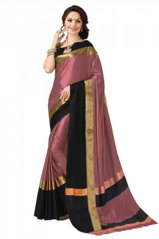 Eye Catching MultiColor Poly cotton Fabric Striped Pattern Saree_SB_PC4