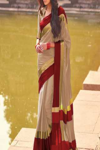Refreshing Beige and Red Color Poly Cotton Saree