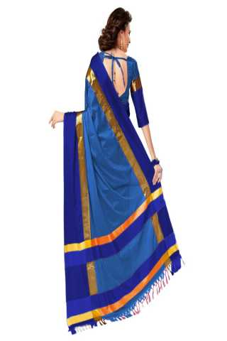 Enriching Blue Color Poly Cotton Saree With Unstitched Blouse