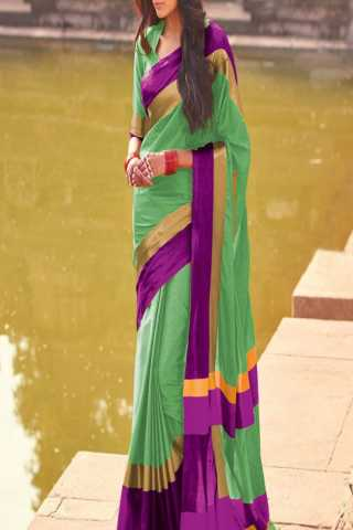 Scintillating Parrot Green- purple Color Poly Cotton Saree