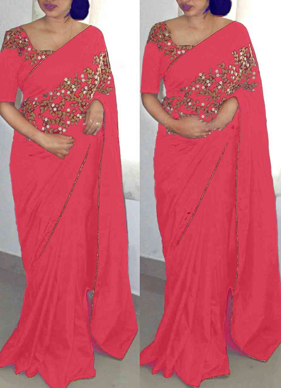 Beautiful PinkColor Paper Silk Embroidered Designer Saree with blouse piece