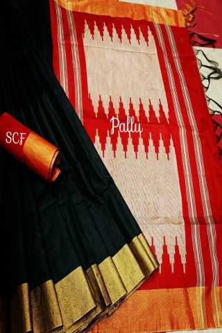 Divine Black Colored Raw Silk Fabric With Jacquard Pallu Saree- RutrangBLKRD