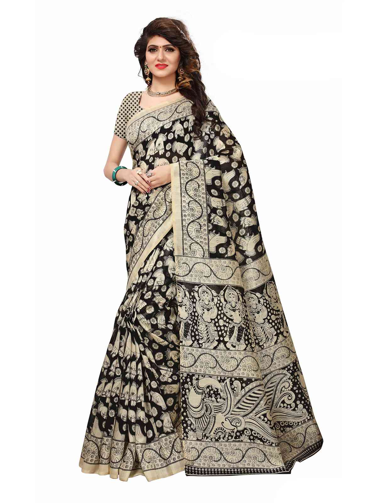 Bhagalpuri Silk Cream With Black Colored Printed Saree With Blouse Piece