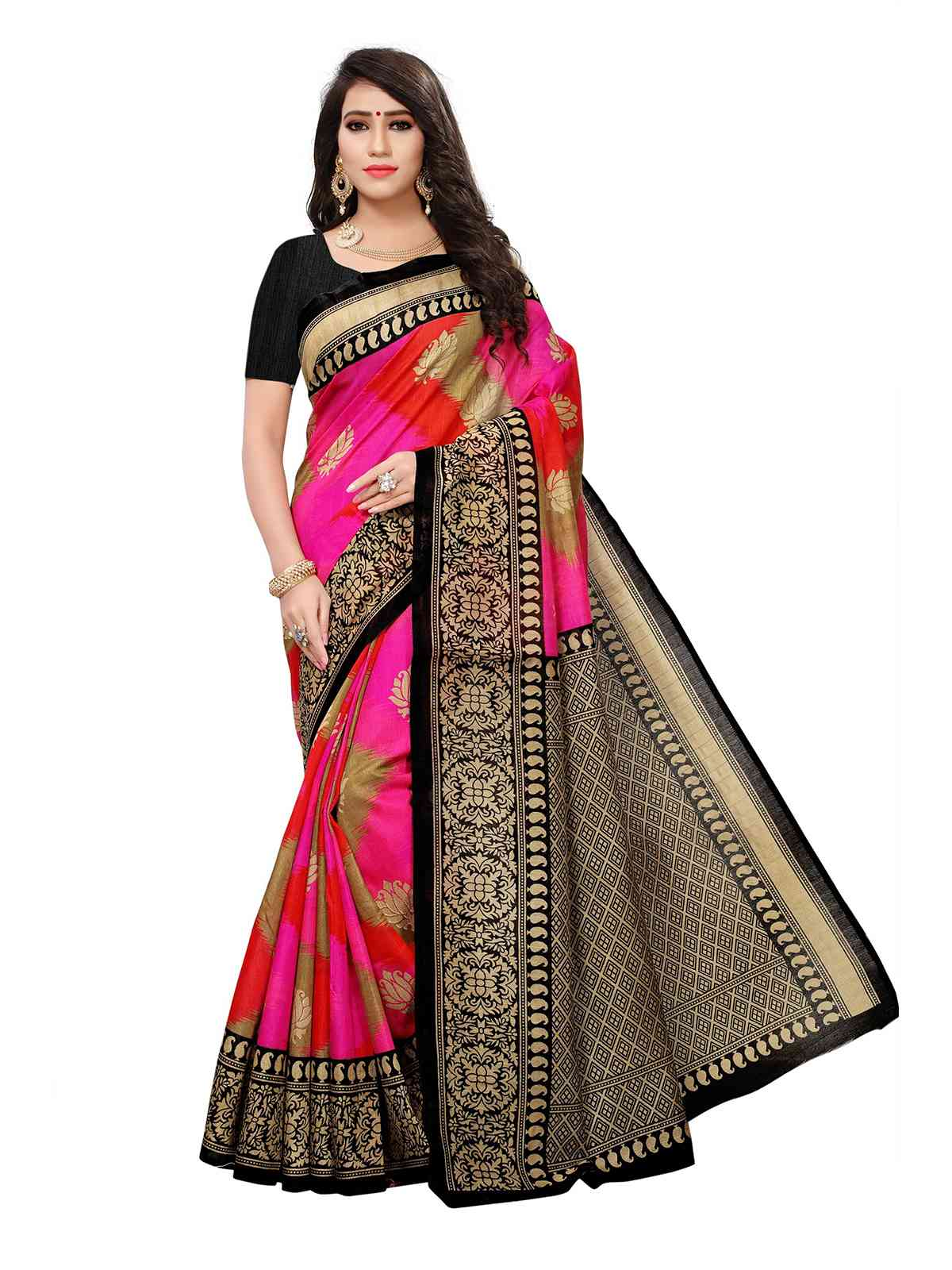 Bhagalpuri Silk Pink Colored Printed Saree With Blouse Piece