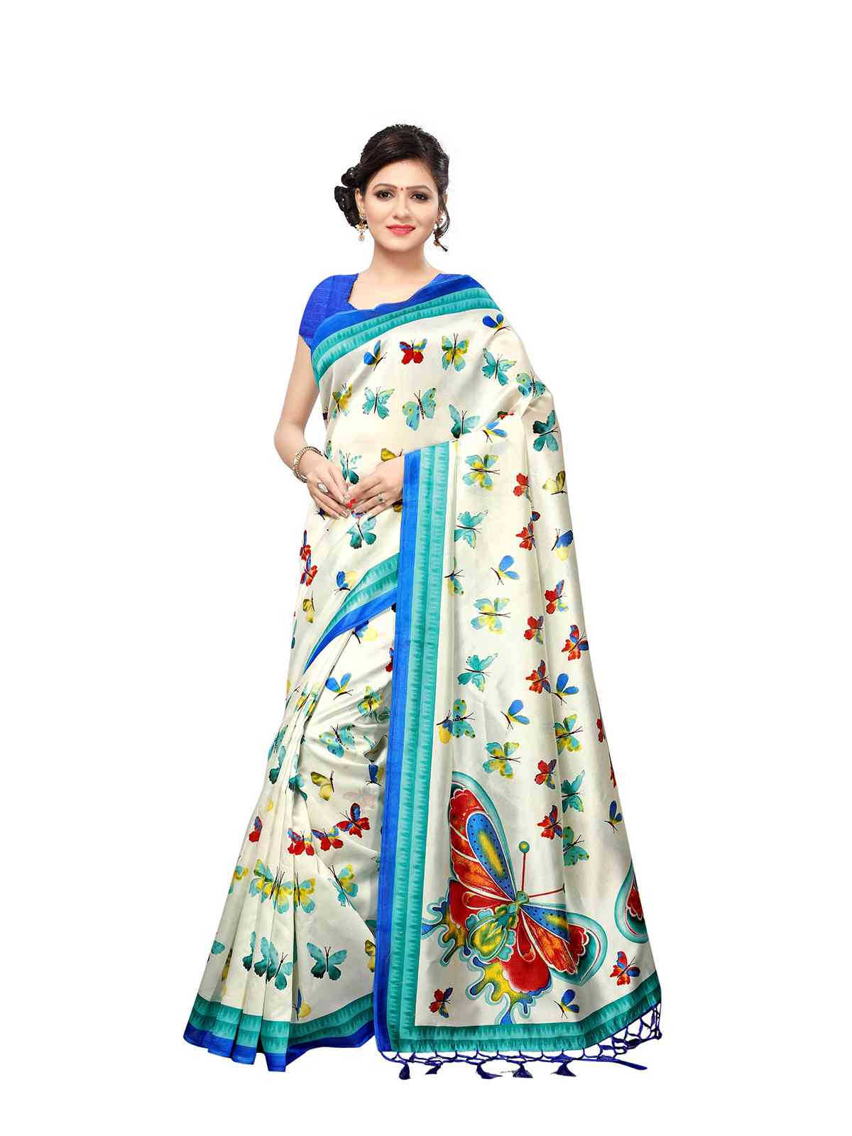 Khadi Silk Cream With Blue Color Printed Saree With Tassel Border