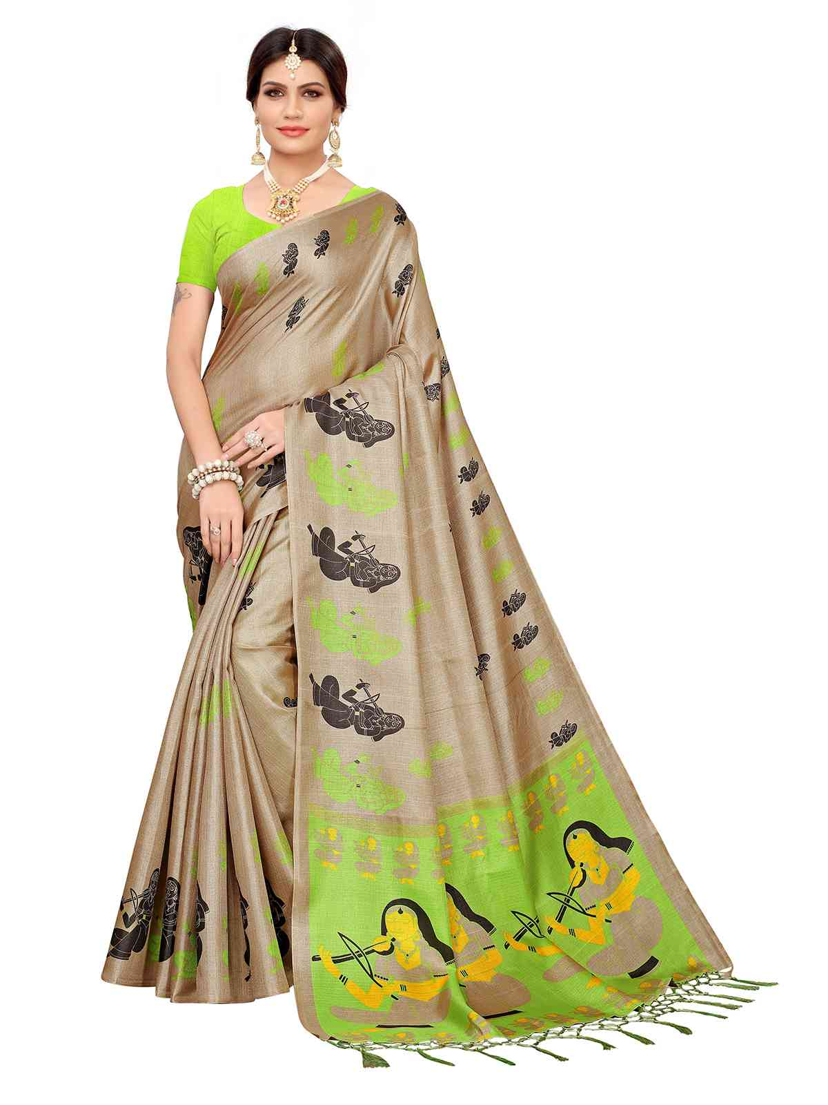 Khadi Silk Beige with Green Color Printed Saree With Tassel Border
