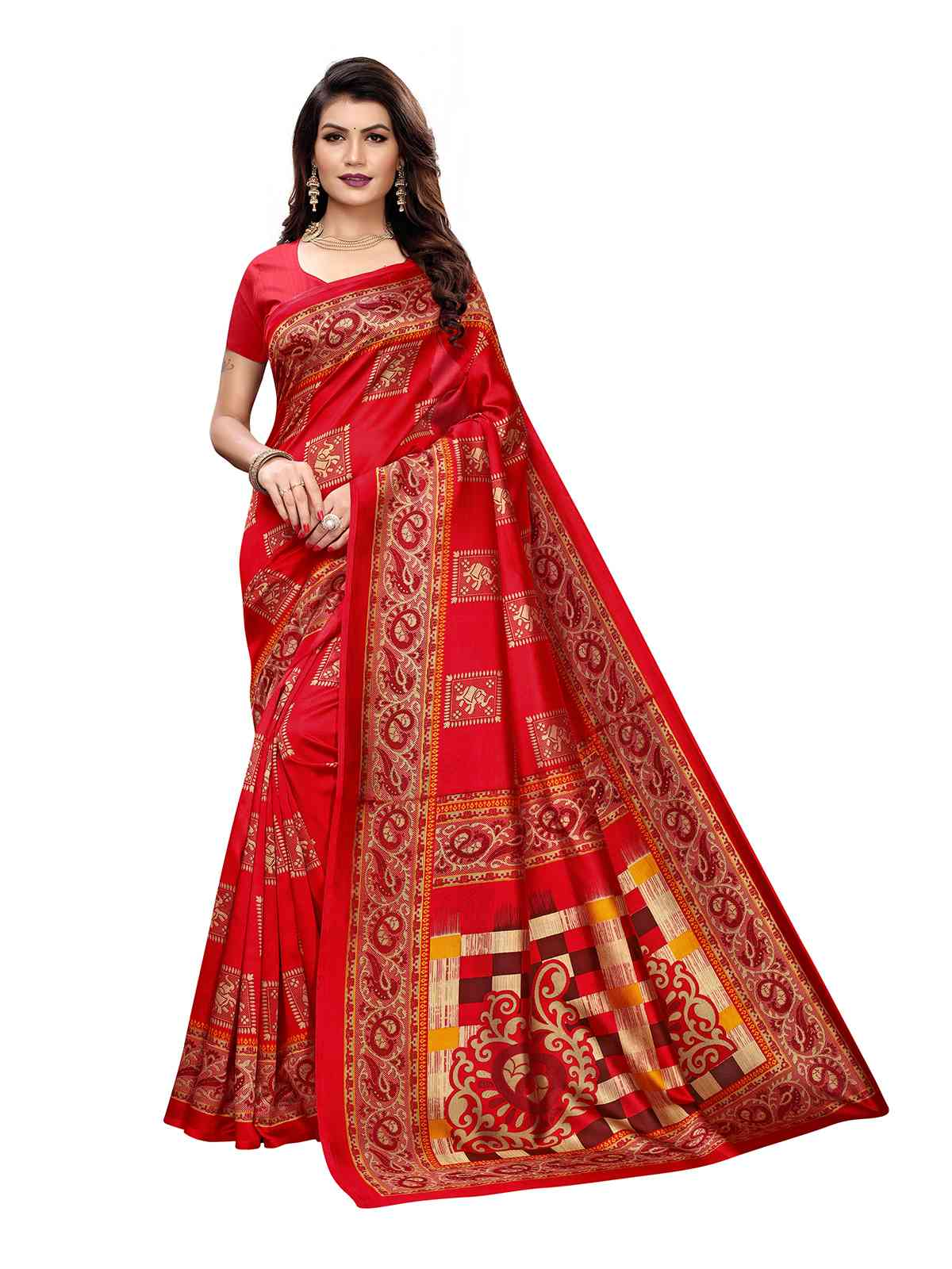 Red Colour Kalamkari Printed Mysore Silk Saree With Unstitched Blouse