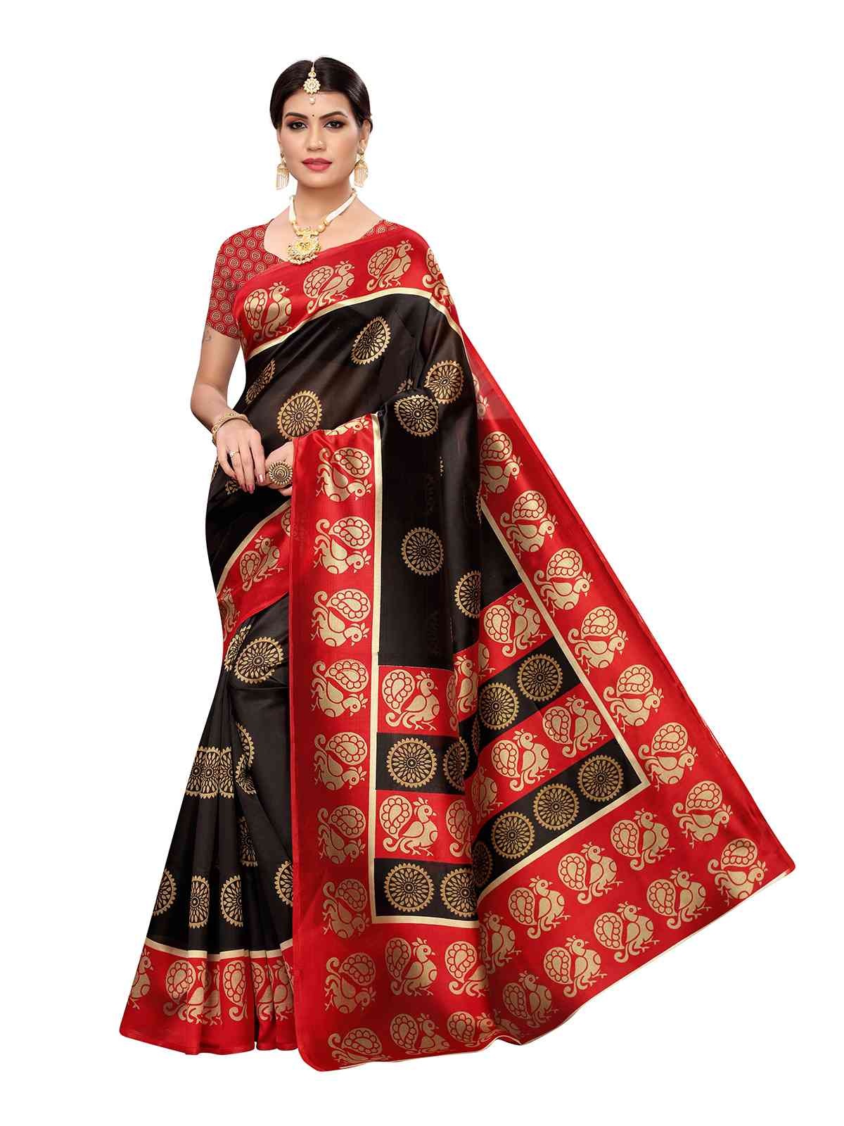 Black Colour Kalamkari Printed Mysore Silk Saree With Unstitched Blouse