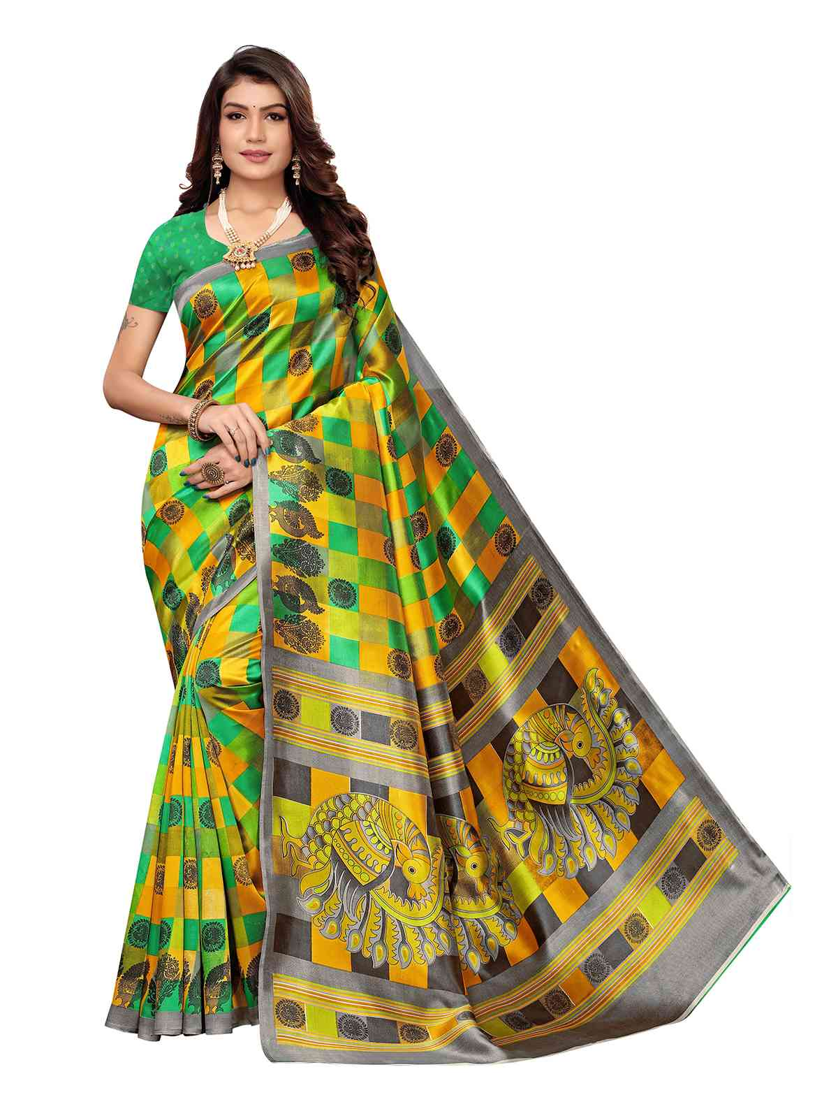 Multi Colour Kalamkari Printed Mysore Silk Saree With Unstitched Blouse