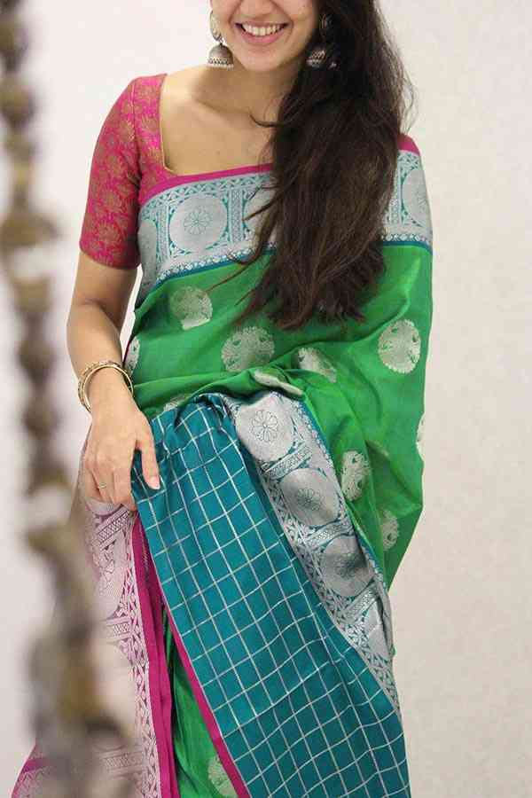 Stunning Dark Green and Pink Silk Saree  30""