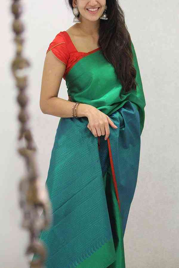 Impressive Green and Blue Colored Soft Silk Party Wear Saree  30""