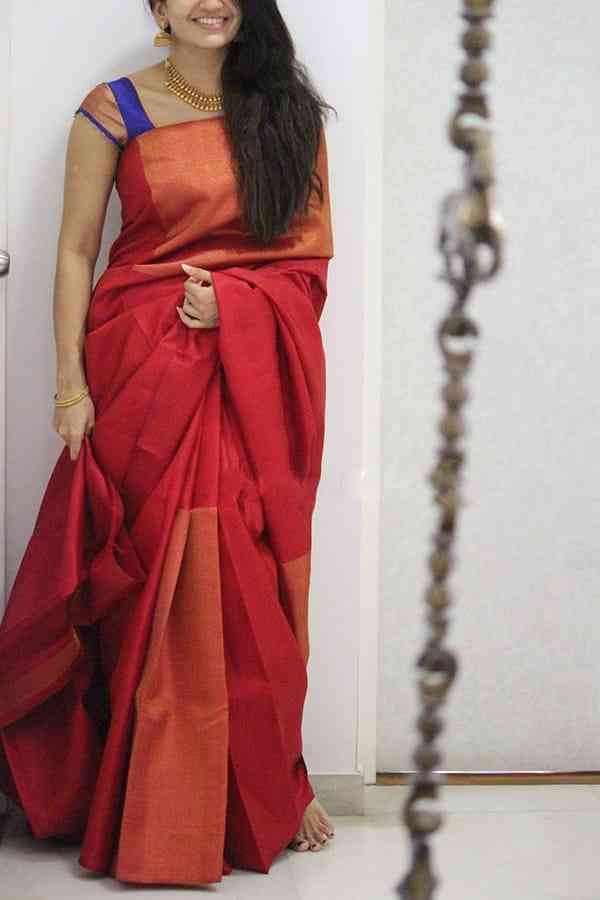 Ravishing Red Colored Soft Silk Party Wear Saree