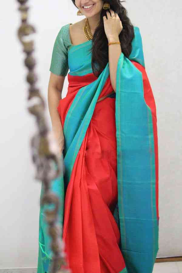 Starring Pink Colored Soft Silk Party Wear Saree