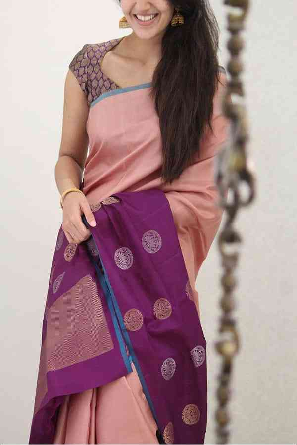 Entrancing Pink-Purple Colored Soft Silk Party Wear Saree