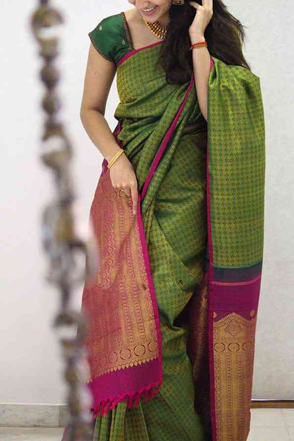 Amazing Green Colored Designer Soft Silk Party Wear Saree  30""