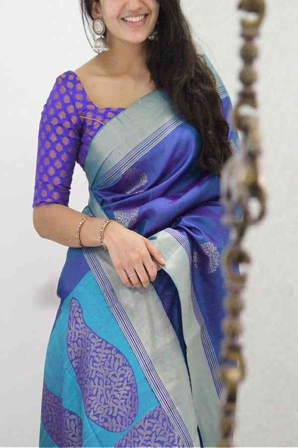 Blooming Blue Colored Designer Soft Silk Party Wear Saree  30""