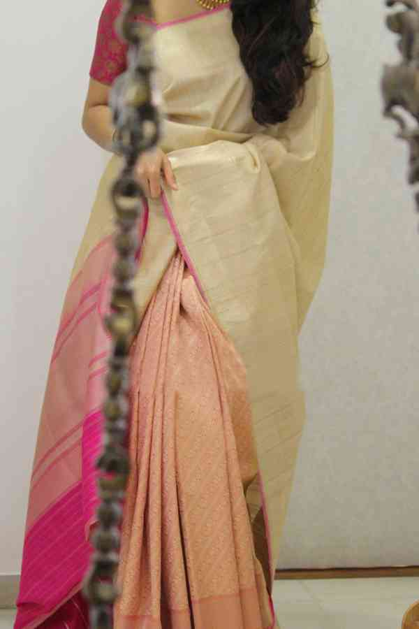 Classical Cream-Pink Colored Soft Silk Party Wear Saree  30""