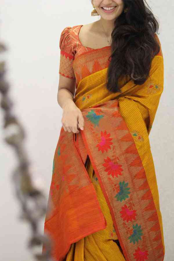 Adorable Yellow Colored Soft Silk Party Wear Saree