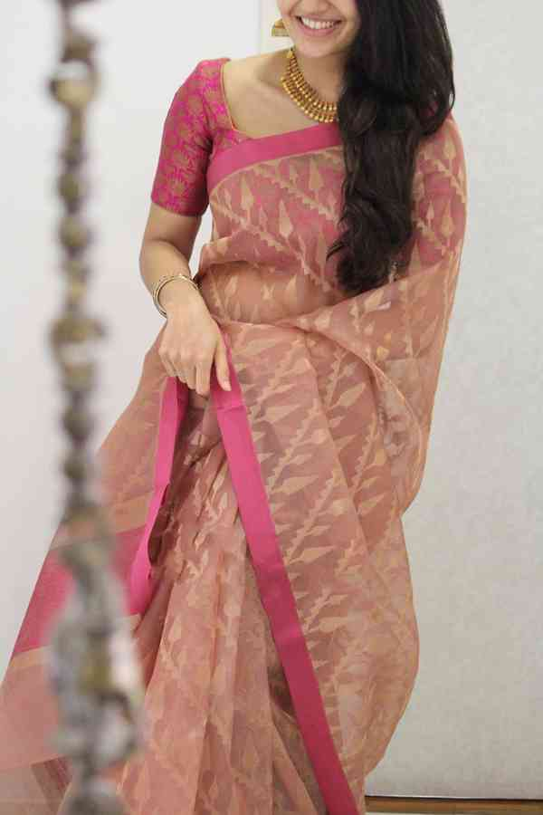 Elegant Pink Shaded Soft Silk Party Wear Saree