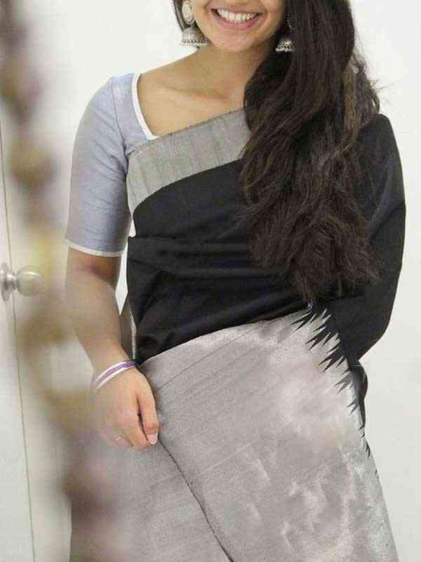 Silk Saree Black Colored For Women - SB1854