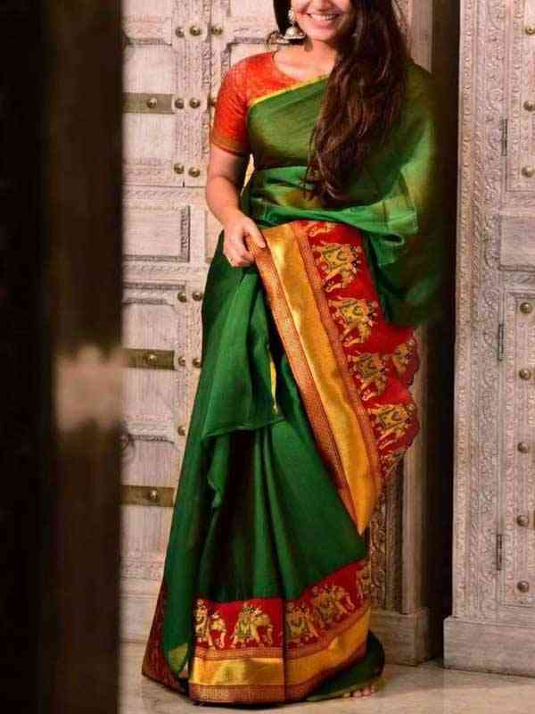 Silk Saree Green Colored Red Designer Pallu For Women - SB1862
