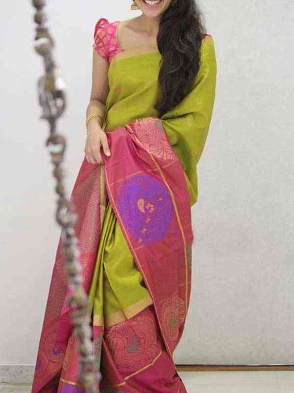 Silk Saree Green Pink Colored For Women - SB1901
