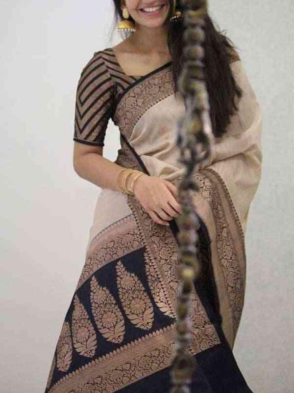Silk Saree Cream Colored Black Blouse For Women - SB1913