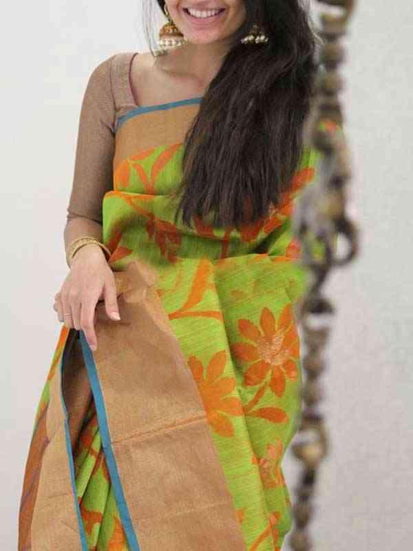 Silk Saree Green Colored Beige Border For Women - SB1924