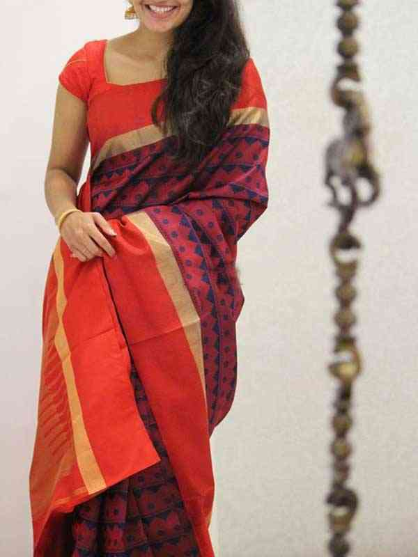 Red Colored Silk Saree For Women - SB1930