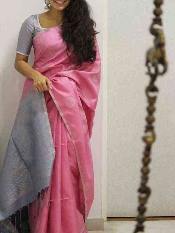 Silk Saree Pink Colored Silver Border For Women - SB1933