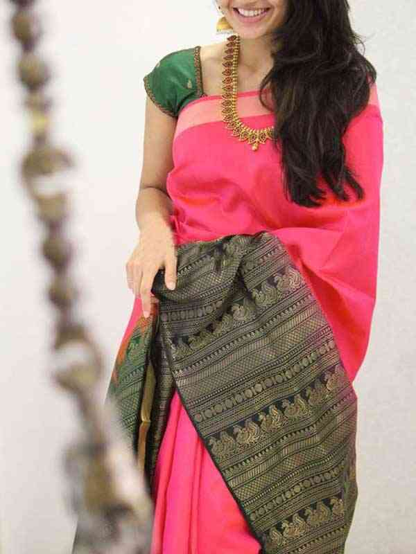 Silk Saree Peach Colored Black Border For Women - SB1935