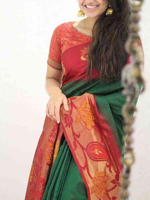 Silk Saree Green Colored For Women - SB1952