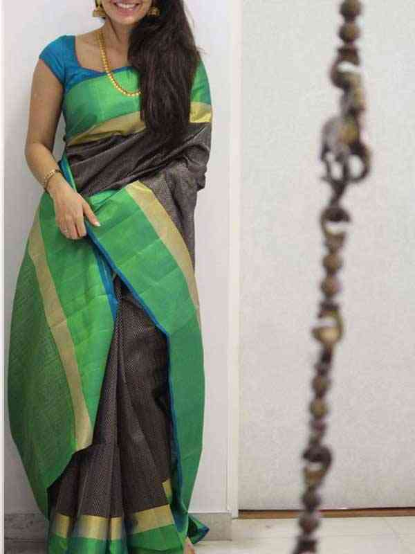 Silk Saree Black Colored Green Border For Women - SB1957