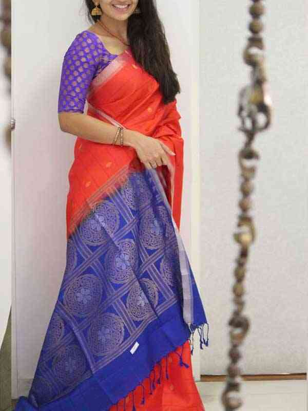Silk Saree Red Colored For Women - SB1960