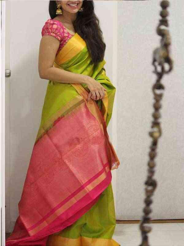 Silk Saree Green Colored Pink Pallu For Women - SB1963