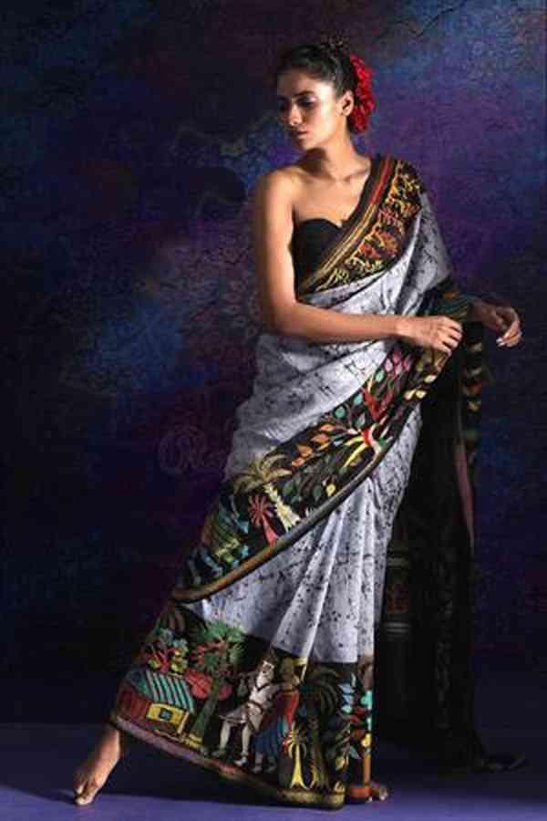 Silk Grey color Designer Saree  - SB2013