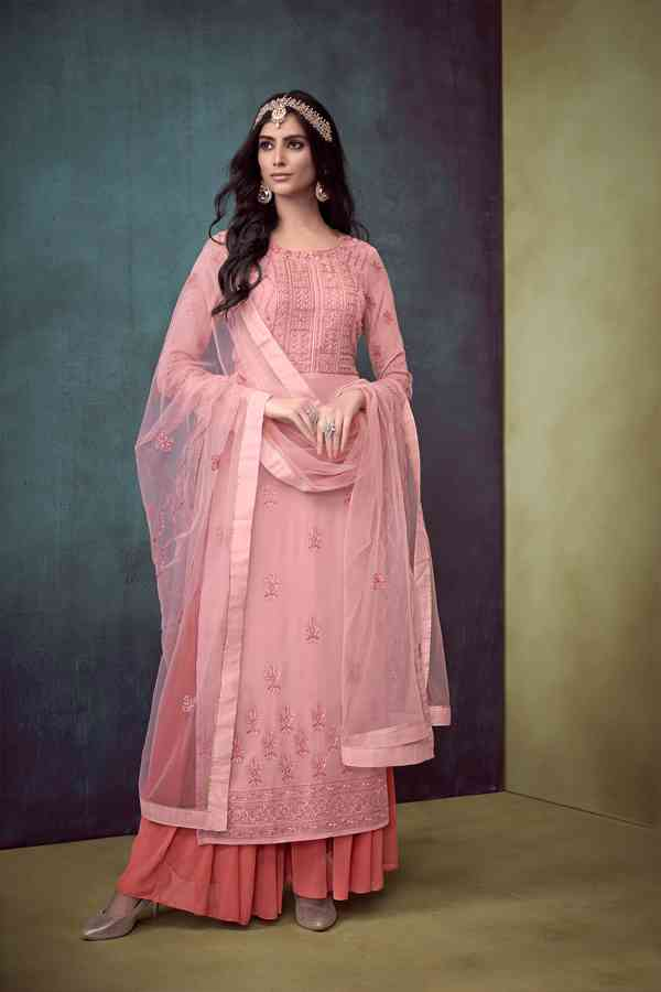 Heavy Pure Muslin Embroidered Pink Colored Partywear Palazzo Suit