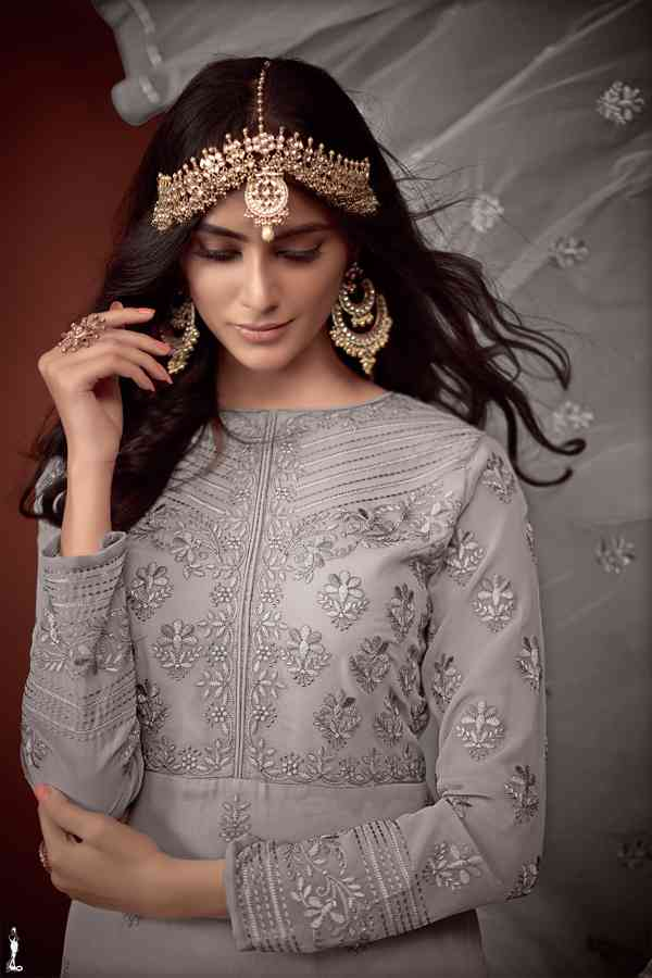 Heavy Pure Muslin Embroidered Grey Colored Partywear Palazzo Suit