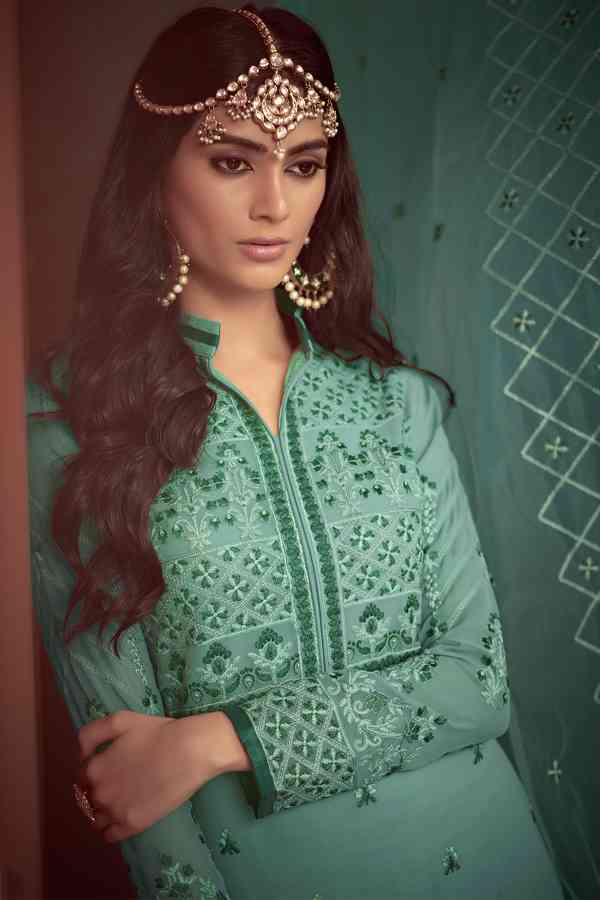 Heavy Pure Muslin Embroidered Green Colored Partywear Palazzo Suit