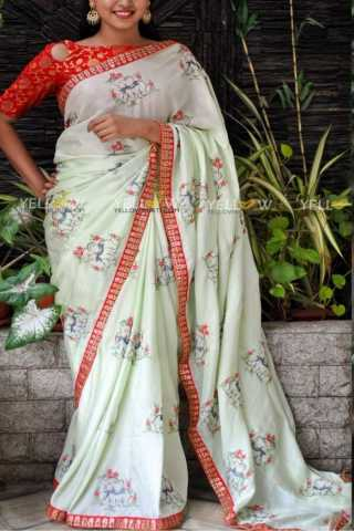 Exclusive Off White Color Georgette Fabric Saree With Jacquard Blouse - SJR401  30""