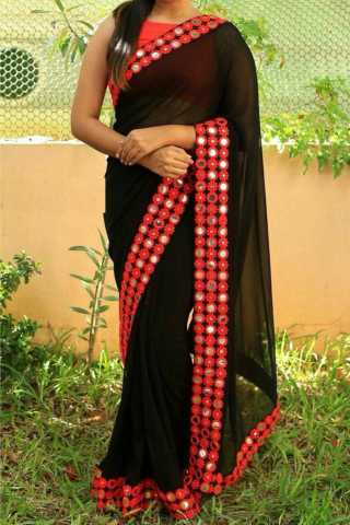 Beautiful Black Color Georgette Fabric Embroidery Multy Thread Work Saree  - SLF540  30""