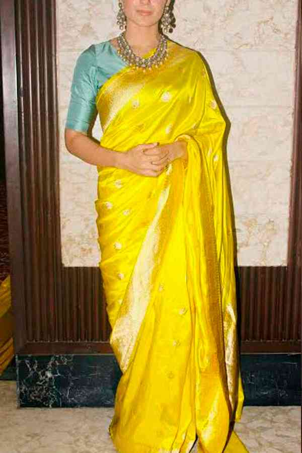 Silk Fabric Designer Wear Yellow Colored Beautiful Saree With Turquoise Heavy Designer Blouse