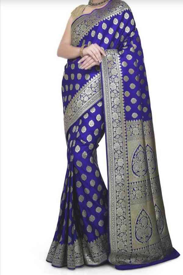 Desirable Blue Colored Traditional Soft Silk Festive Wear Saree - CD283