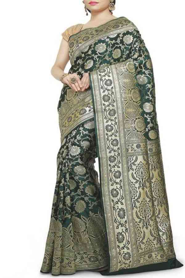 Classy Olive Green Colored Traditional Soft Silk Festive Wear Saree - CD284