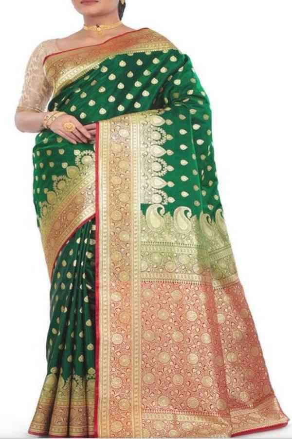 Arresting Green Colored Traditional Soft Silk Festive Wear Saree - CD290